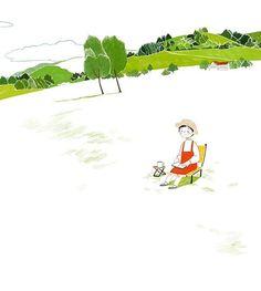잔디밭에서 쉼 - 쉬는 그림 #illustagram #illustration #illust #drawing #draw #artwork #digitalart #photoshop #lawn #green #nature #relax #relaxing #rest #peace #serenity #healing #일러스트 #일러스트레이션 #그림 #여유 #잔디 #휴식 #힐링 #평온 #쉼 #쉬는시간 #쉬는그림