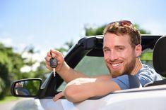 Man driving new rental car showing keys happy. Man driving rental car showing ne , Car Rental, Vehicle Rental, New Car Key, Cheap Cars, Limo, Car Show, Travel Style, Singapore, Road Trip
