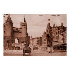 Vintage Antwerp medieval castle Het Steen belle époque sepia posters