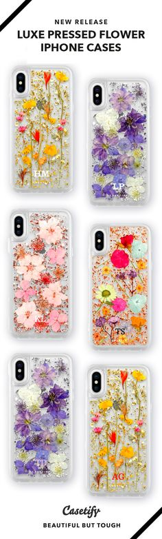 The new luxe pressed flower iPhone case is made with real dried flowers and gold foil details. We've applied our impact protection on this delicate design to make it the strongest iPhone X case. | iPhone X Case, iPhone Case, Floral, Spring, Tech Gadget, Accessory