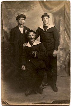 Hello Sailor! Great vintage photo of three buddies