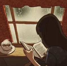 Love to read free animated gifs - best reading books animation collection. Anim Gif, Gif Animé, Animated Gif, Aesthetic Art, Aesthetic Anime, I Love Books, Good Books, Free Books, Rain Animation