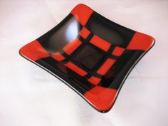 Red and Black Fused Glass Plate by DancingGlass on Etsy, $10.00