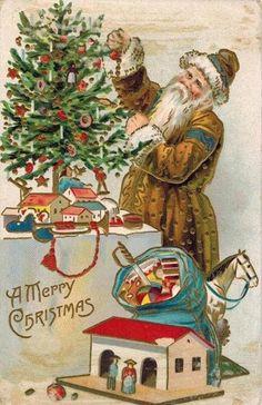 1908 Yellow-Brown Robe Santa with Toys & Tree Christmas post card German Christmas Ornaments, Old Christmas, Victorian Christmas, Vintage Christmas Cards, Christmas Items, Christmas Images, Father Christmas, Christmas Decor, Best Christmas Wishes