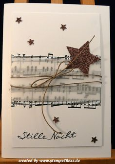 Christmas card stampin up silent night notes - Christmas card stampin up silent night notes - Christmas Cards 2018, Homemade Christmas Cards, Merry Christmas Card, Christmas Mom, Xmas Cards, Homemade Cards, Handmade Christmas, Christmas Crafts, Christmas Family Feud