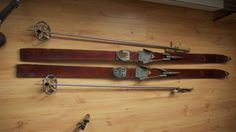 VINTAGE SANDTROMS WOOD SKIS, TYROLIA BEAR TRAP BINDINGS AND ORIGINAL POLES #SANDSTROMS