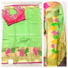 Shree Designers Nellore. Contact : 099515 00909. Sari Design, Kanchipuram Saree, Fabric Painting, Saree Blouse, Blouse Designs, Sarees, Designers, Blouses, Collection