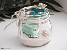 Tropical / VW Bus Van / Summer Home Decor / Gift for Her GREEN