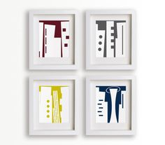 Set of Four 5x7 Modern Building Prints - Living Room Decor, Wall Art, Dining Room Decor, Office Decor, skyline art. $39.95, via Etsy.
