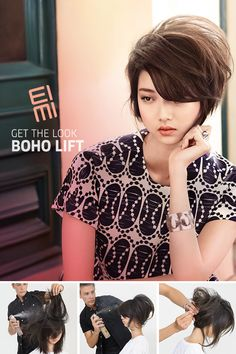 Get the Look: Boho Lift Go boho with this chic bohemian updo perfect for date night. Watch a Wella stylist create the look step-by-step, complete with all the EIMI products you'll need like EIMI Dry Me Dry Shampoo and EIMI Root Shoot Precision Root Mouss Good Hair Day, Love Hair, Great Hair, Big Hair, My Hairstyle, Pretty Hairstyles, Corte Y Color, Look Boho, Hair Affair