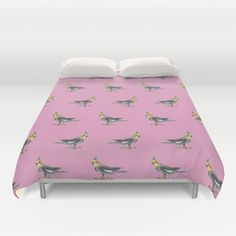 """Cockatiel"" Duvet Cover by Savousepate on Society6 #duvetcover #bedroomdecor #homedecor #pattern #drawing #watercolor #painting #cockatiels #parrots #parakeets #budgerigars #birds #pink #grey #gray #yellow #orange #white"