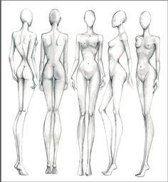 Croqui feminino giro 360° frente lado e costas