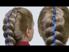 Как Плести Косы с Лентами Видео| 5 Strand Ribbon French Braid Headband on Yourself Hairstyle - YouTube
