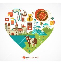 Switzerland love - heart with icons vector by ma_rish on VectorStock®