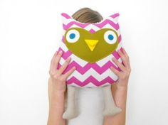 pink owl softie handmade