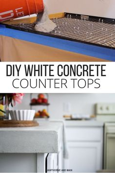 SUITE PECAN- DIY Kitchen Countertops How amazing is this DIY white counter top! I cannot believe that it's made out…How amazing is this DIY white counter top! Diy Concrete Countertops, Kitchen Countertop Materials, Kitchen Countertops, Concrete Kitchen, Concrete Cement, Kitchen Cabinets, Cuisines Diy, Cuisines Design, White Counters
