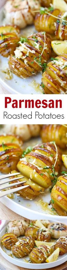 The easiest and best Parmesan Roasted Potatoes recipe. Made with parmesan cheese, butter and herbs. So good you'll want it every day! Potato Dishes, Vegetable Dishes, Vegetable Recipes, Food Dishes, Vegetarian Recipes, Cooking Recipes, Side Dishes, Healthy Recipes, I Love Food