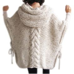 50 Clearence Tweed Beige Hand Knitted Poncho With Hood found on Polyvore featuring polyvore, women's fashion, clothing, outerwear, black, women's clothing, beige poncho, women's plus size ponchos, style poncho and hooded ponchos
