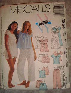 McCalls 3854  Girl's Pajama Pattern sizes 11/12 by Eastsidelights, $5.00 Knit Patterns, Vintage Patterns, Sewing Patterns, Sister Crafts, Pajama Pattern, Sleepwear & Loungewear, Vintage Nightgown, Ny Ny, Girls Pajamas