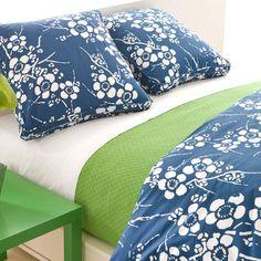 Kiyoko Indigo Bedding.     We can't get enough of this cheerful blue/green combo! Over white sheets, layer a touchable matelassé and graphic cotton duvet and shams. Find it ...at Mary's