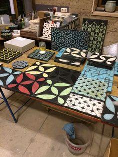 KARAK designer tiles_ working surface in our workshop in Schlins, western Austria Workshop, Rauch, Designer, Tile Floor, Tiles, Flooring, Contemporary, Stone, Bathroom