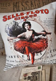 Pillow Cover Circus Cotton and Burlap pillows by JolieMarche, $35.00