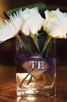Classy square vases with ribbon and monogram