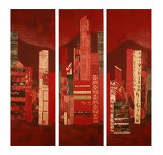 HongKong triptyque : collage and acrylic on canvas .