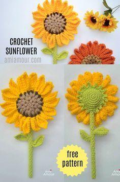 Crochet Flower Tutorial, Crochet Flower Patterns, Diy Crochet Flowers, Crochet Ideas, Crochet Sunflower, Sunflower Pattern, Crochet Home, Crochet Gifts, Crochet Stitches