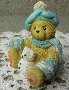 Cherished Teddies figurine Enesco collectible teddy bear statue Jack January A new year with old friends winter mint green Christmas