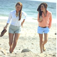 Outfit on the right, blue shorts-adorable