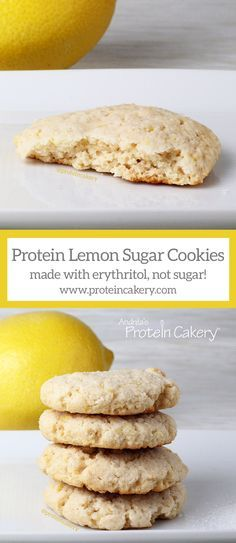 Protein Lemon Sugar Cookies made with erythritol, not sugar! by Andréa's Protein Cakery