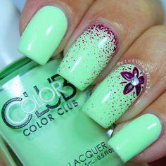 Beautiful nails 2016, Beautiful summer nails, Bright summer nails, Fashion nails 2016, flower nail art, Manicure by summer dress, Mint nails, Nail designs with purple