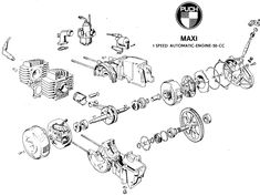 Handy diagram of the Puch engine. Yamaha Scooter, Steyr, 50cc, Vespa, Cars And Motorcycles, Engineering, Diagram, Website, Hygge
