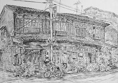 Artist - Itsuo Kiritani   Title - Wooden Apartment, Nezu(長屋、根津)  Dimensions - (24.2cm x 34cm)Year - 1987  Media - Pen and Ink on Paper   Exhibition - ANA InterContinental Tokyo  Nov. 9, 2015 - Feb. 9, 2016     Inquiry
