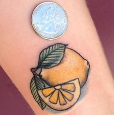 little baby lemon tattoo I got in September 2013 / artist: Jamee Melvin @ Gypsy Rose Tattoo in Jacksonville, NC