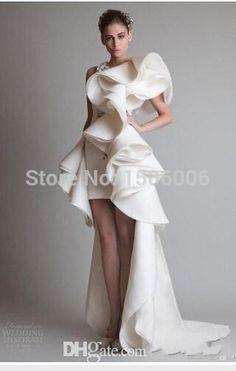 Romantic 2016 Fashion Appliques Vestido De Festa High Low Organza One Shoulder…