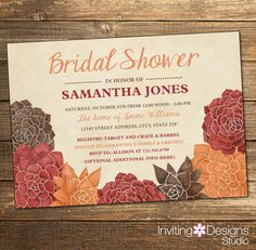 rustic bridal shower invitation fall autumn floral orange burgundy brown