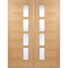 Usual Delivery Time; 48 - 72 Hours and free anywhere on the UK mainland, Islands and exports by arrangement. This interior Vancouver oak 4L offset door pair is also available in a slightly different but complimentary styles as a fire door, the finish on the oak veneer is fantastic and made all the better by the typical grain in the oak. All Vancouver oak4L doors with offset clear glazing are fully finished and they are really nice examples o