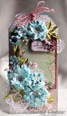 Heartfelt Creations   Turquoise Blooms Tag