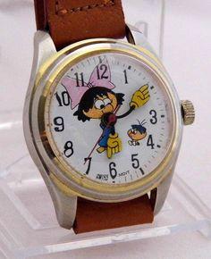 Vintage Lemon Drop Kids Candy Advertising Wrist Watch, Swiss Movement, Manual Wind, Original Tan Band, Circa 1970s
