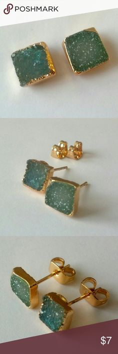Aqua genuine druzy stud earrings The prettiest shades of light aqua!  Gold plated and in excellent condition.  I'm selling my massive jewelry collection to help pay for home repairs and renovations.  Price is firm (and very reasonable), but bundle and save 10%! Jewelry Earrings
