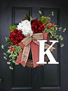 Holiday Decorations From Etsy - Red and White Hydrangea and Chevron Burlap Merry Christmas Wreath; $59+ at etsy.com