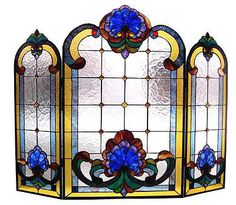 Victorian-Chapel-Stained-Glass-Decorative-Fireplace-Screen-NEW