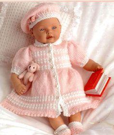 Doll or Prem Baby KNITTING PATTERN Beret Dress Coat by carolrosa