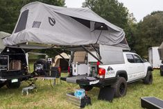 NEMO Tent On Top The new AT Overland Equipment Habitat system incorporates a NEMO tent into a folding roof-top-tent, which is integrated into a truck topper. The entire system provides a TON of usable interior and exterior living space, and the addition of a fully kitted out Goose Gear interior system elevates this style build to a whole new level.