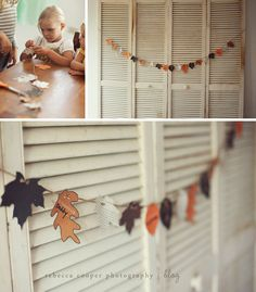 11/2011 - Thanksgiving leaf garland. We didn't even do the printable, just stacked 4 sheets of red/brn/org/yel cardstock and cut out a bunch of leaf shapes, punched a hole & threaded them on some string. They look really cheery on the mantle. :)