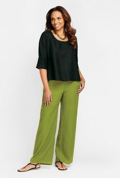Flax, crop top and wide pant