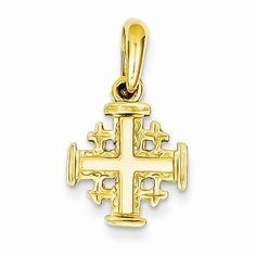 Solid 14k Yellow Gold Jerusalem Cross Crucifix Charm Pendant (23mm x 13mm). Elegant Pendant Box Included. 14k Yellow Gold GUARANTEED, Authenticated with a 14k Stamp. FREE Standard Shipping in USA. Made with Highest Quality Craftsmanship. Hassle Free 30 Day Full 100% Refund Policy.