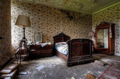 Chateau de la Foret - Belgium~ so sad to see beautiful furniture like that not be enjoyed. I mean that wardrobe, the bed?!!!! it is gorgeous!!!!